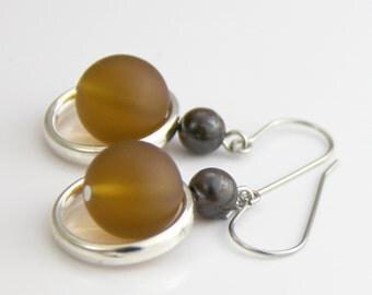 Small Brown Earrings - Matte Brown Sea Glass Dark Brown Stone Silver Dangle Earrings Short Simple Casual Classic Neutral
