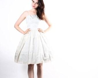 On SALE 25% Off ends 10th Vintage 1950s Wedding Dress -  50s Blue Wedding Dress -  Short Lace Wedding Dress - The Sweet Dreams Dress - 6082