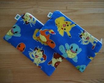Reusable Zipper Snack Bags for Kiddos Eco Friendly Set of 2 Pokemon Print Pikachu Charmander Eveee Bulbasaur
