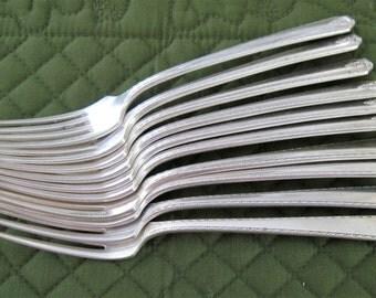 10 Antique Vintage Prestige Plate Silverplate Dinner Fork Forks Bordeaux Pattern Circa 1940's