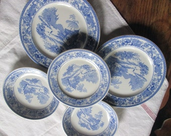 Vintage Blue & White China Restaurant Ware