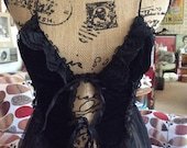 Vintage 1970s 1980s Lingerie Nightwear Gown Sexy Sheer Burlesque Pin Up Fetish Goth Black Nylon Underwire Cups Lace