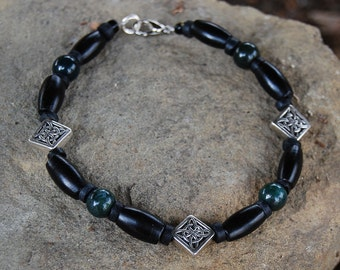 Vercingetorix - 9 Inch Handcrafted Gemstone Bracelet - Horn, Coconut Shell, Metal Alloy and Bloodstone - SGArtCA - Tribal Chic Jewelry