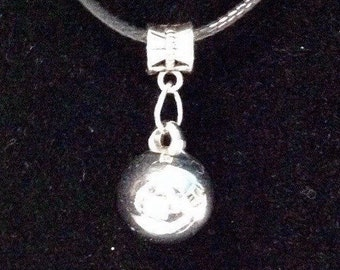 Sphere Charm -  Silver Sphere Charm Necklace  zipper pull or cell phonedust plug strap, choker