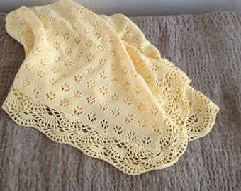 BABY BLANKET Knit Baby lace afghan Gift for New Baby Baptism accessory Baby shower gift Swaddle Blanket Throw blanket Choose custom color