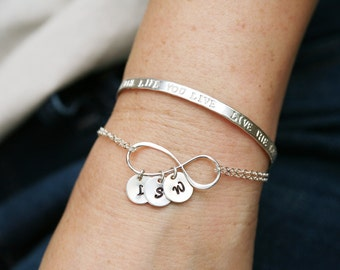 Large sterling silver infinity monogram bracelet,custom initial bracelet,custom font,Mother love bracelet,best friend gift,sisters bracelet,