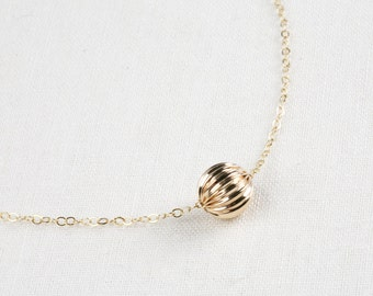 14k gold filled corrugated ball circle Necklace, Small Single Bead,gold Bead layered Necklace, Simple Everyday Necklace