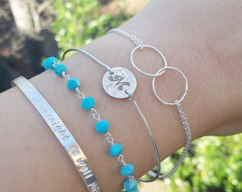 Layered Turquoise bar cuff bracelet,initial bracelet,beaded turquoise,stamped bar cuff,Delicate turquoise Bar bracelet,bar bangle bracelet