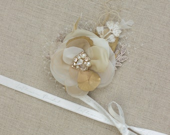 Gold Wedding Hair flower bridal headpiece Bridal hair piece Champagne Hair Flowers Hair accessories wedding fascinator Gold headpiece