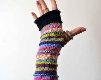Knit fingerless gloves - Colorful Fingerless Gloves - Long Fingerless Gloves - Purple Fingerless Gloves  nO 46.