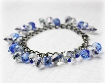 CLEARANCE 40% OFF Cluster Bracelet, Glass Bead Bracelet, Cha Cha Bracelet, Boho Bracelet, Elegant Bracelet, Shaggy Bracelet