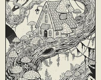 Mushroom Treehouse Black n White silkscreen