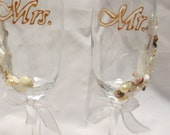 Wedding Glasses Champagne Flutes Hand Painted Copper White Embellished With Shells Pearls Beads and Ribbon