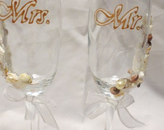 Beach Wedding Glasses Champagne Flutes Hand Painted Seaside Destination  Shells Pearls Beads