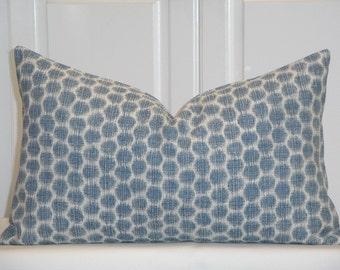 DOUBLE SIDED - KRAVET- Decorative Pillow Cover - Spotkat Indigo Colorway - Ikat - Blue Pillow - Toss Pillow - Cushion Cover