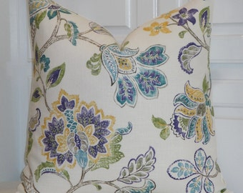 Decorative Pillow Cover - Floral - Jacobean - Accent Pillow - Yellow - Teal - Green - DOUBLE SIDED Or Front Only