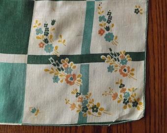 Vintage Green Spring Bouquet Printed Handkerchief