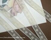 """5 Yards - Vintage Cotton Lace - Cotton Lace Insertion - Bridal - Doll Dress Trim - Lingerie Lace - 5/8"""" Wide - IVORY - 950-E"""