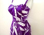 Vintage 60s 70s WALTAH CLARKE Hawaiian Maxi Dress - Purple Hawaiian Sarong Wrap Dress - Hawaii Long Purple Dress - Size Medium to Large 12
