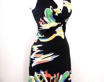 Vintage 60s 70s Black Maxi Dress with Atomic Watercolor Pattern by Mary Martin Florida - Black Boho Sleeveless Maxi Dress - Small to Medium