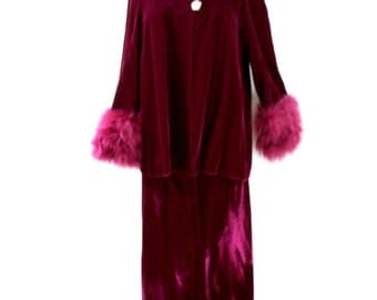 Vintage 60s Burgundy Velvet Evening Suit with Marabou Trim by Morton Bregman - 60s MOD Merlot Velvet Maxi Skirt and Top - Size Medium