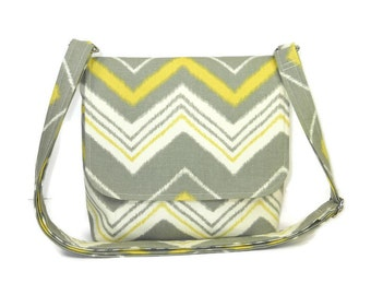 Small Chevron Purse, Gray Yellow Chevron Crossbody Bag, Small Fabric Handbag, Messenger Bag for Women, Cotton Pocketbook, Zig Zag Stripe Bag