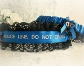 Police Line Do Not Cross Wedding Garters -  Embroidered Blue Line Police Garters - Funny Police Garter - Personalized Police Garter.