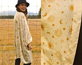 Vintage Sun and Moon and Star ZODIAC Astrological Duster Kimono Jacket