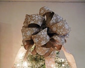 Large Christmas Tree topper bow Burlap ribbon White Snowflakes
