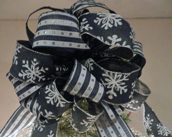 Large Christmas Tree topper bow Blue Denim w/white snow flakes and striped ribbons