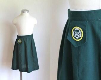 """vintage 1960s girl scout skirt - CADETTE green scout uniform skirt / 8-10yr / 24"""" waist"""