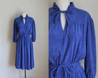 50% OFF...last call // vintage 1970s terrycloth dress - POOL PARTY royal blue beach dress / s/m