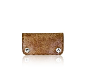 iPhone 6, iPhone 7 RETROMODERN aged leather wallet - - LIGHTBROWN