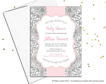Pink and gray baby shower invite baby girl, printable baby shower invitation, printed unique baby sprinkle invitations for girls - WLP00788
