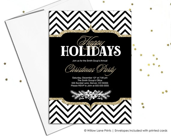 Chevron Black and White Invite