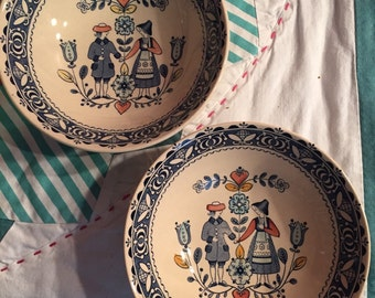 Vintage 2 Piece Set of Cereal Bowls Hearts and Flowers Johnson Bros Made in England #3526