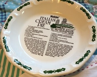 Vintage Italian Cream Recipe Watkins Pie Plate Made in The USA #3620