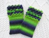 Green Crochet Wrist Warmers Wrist Cuffs  Crocodile Stitch Wrist Cuffs Handmade in Ireland