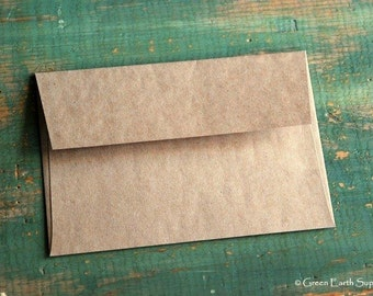 "100 4x6 (A4) Recycled Envelopes, true size: 4 1/4"" x 6 1/4"" (108 x 159 mm), fits 4x6 cards, recycled, eco-friendly, kraft brown"
