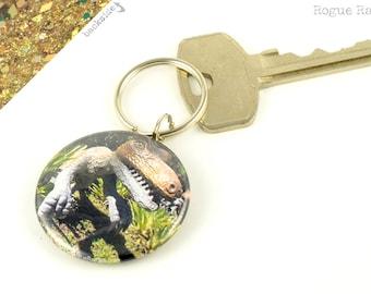 Dinosaur Keychain - Dino Sparkly Key Chain - Velociraptor Key Ring - Gold Green Glitter - Jurassic Park - Jurassic World