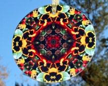 Pansy Suncatcher Boho Chic Mandala Sacred Geometry New Age Hippie Kaleidoscope Minutia