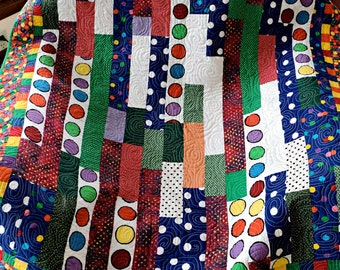 "Polka Dot Strip Scrappy Patchwork Lap Quilt - Baby Blanket - Sofa Throw - 37"" x 40"""