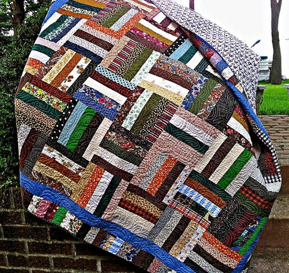 Quilted Scrappy Rail Fence Patchwork Lap Quilt Sofa Throw