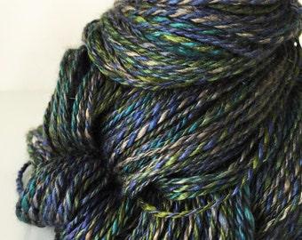 "Handspun Yarn -- ""Twilight Mist"" -- 60/20/20 merino / yak / silk -- 238 yards sport weight"