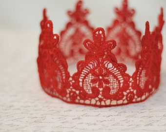 """Queen of Hearts Red Lace Crown - """"Queen Heart"""" - fairytale, red queen, birthday crown, bridal crown, bachelorette party"""