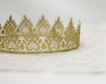 """Queen of Hearts Gold Lace Crown - """"Little Heart"""" - fairy tale, red queen, birthday crown, bridal crown, bachelorette party, girls crown"""