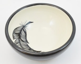 Hand Painted Porcelain Black and White Feather Bowl