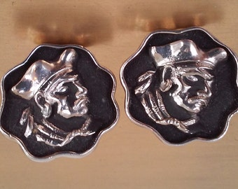 60s SWANK--Pirate Cufflinks--Silvertone and Black--Huge