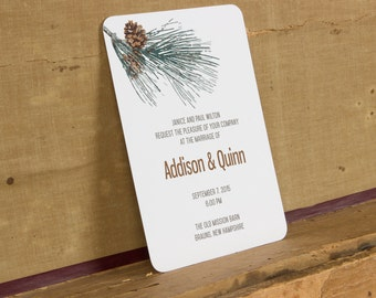 Rustic Pine Cone Wedding Invitation,Modern Woodland Winter Wedding Invitations,Modern Christmas Wedding Invite,Rustic Winter Wedding Invite,