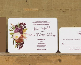 Rustic Modern Floral Wedding Invitations,Rustic Floral Wedding Invites,Fall Floral Wedding Invitation,Deep Red Floral Wedding Invite,Autumn